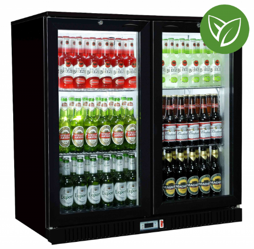 Sterling Pro Green SP2HC-BS Black Sliding Double Door Bottle Cooler 192 Ltrs / 180 Bottles